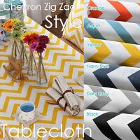 Chevron Zig Zag Linen Cotton,Tablecloth-ROUND SQUARE OBLONG 2-4,6,8,10,12Seaters