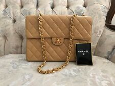 100% AUTHENTIC CHANEL TAN CAVIAR  LARGE SINGLE FLAP PURSE GOLD HARDWARE