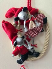 Christmas Norway Mouse Pair Oval Straw Hanging Tregaarders Julehus KnitSwtrHat