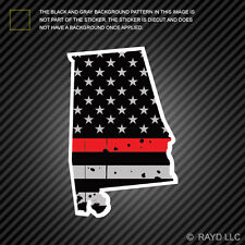 Distressed Thin Red Line Alabama State Shaped Subdued US Flag Sticker fire AL