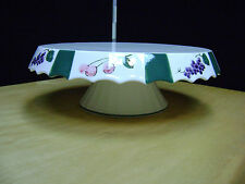 White Ceramic Pedestal Cake Plate Stand  11 in Green Stripes, grapes, cherries