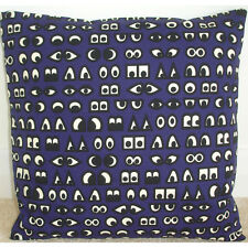 "16"" Cartoon Eyes Cushion Cover Navy Blue Cream and Black Emoji Manga Eye"
