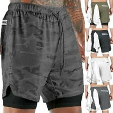 NEW Men's 2 in 1 with Phone Pocket Running Sports Shorts Quick Dry Short Pants
