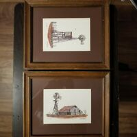 Pair of (2) Vintage Al Richardson Signed Matted Prints