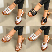 Womens Gladiator Strappy Flat Sandals Ladies Summer Beach Ankle Strap Shoes Size