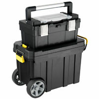 2-in-1 Rolling Tool Box Set Mobile Tool Chest Storage Organizer Portable Black