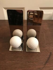 GOLF BALL BOOKENDS Pair Set Of Two Silver Metal Sports Gifts Man Cave Library