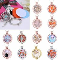 Women Crystal Hollow Aromatherapy Locket Essential Oil Diffuser Pendant Necklace