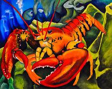8x10 Lobster Wildlife Ocean Marine Animal Art Print of Original Painting Vern