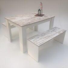 Esstischgruppe+Bänke- 3er Set  120x80cm, Canyon White Pine,weiß  Made in Germany