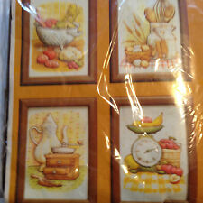 CREATIVE CIRCLE GOURMET GALLERY SET OF 4 FRAMED KITCHEN STUFFED PICTURE KIT NIP