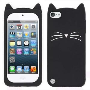 iPod Touch 5th 6th & 7th Gen - SOFT SILICONE RUBBER CASE COVER BLACK CAT WHISKER