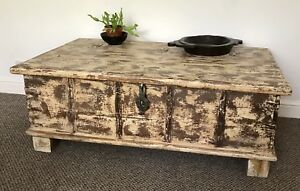 Antique Indian wedding chest-Coffee Table-trunk-ottoman-furniture