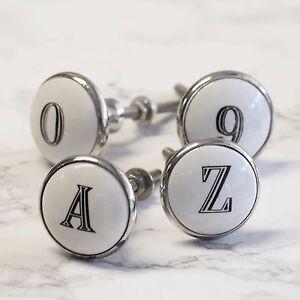 Ceramic Alphabet Letter Number Porcelain cupboard door Knobs