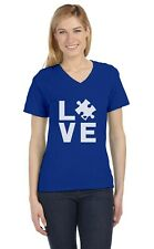 Autism Awareness Month - Love Someone With Autism V-Neck Fitted Women T-Shirt