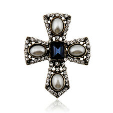 Vintage Rhinestone Imitation Pearl Cross Brooch Pin Shawl Scarf Pin