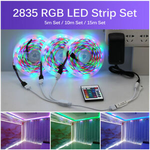 12V LED Strip Light 2835 5050 DC  5M 10M 15M RGB Color+Remote Controller+Adapter
