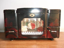 Old vintage wind up beautiful lightning and musical, dancing doll jewellery box.