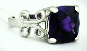 AMETHYST 6.85 Cts RING SILVER PLATED ** New With Tag ** Size 7.25