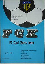 1989/90 programme FC Karl Marx Stadt-CZ Jena