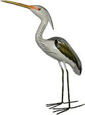 Large Heron Handmade Coastal Wood Metal Garden Statue Crane Yard Art Sculpture