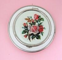 Vintage Powder Compact White With Pink Red Roses on Top Good Shape T104