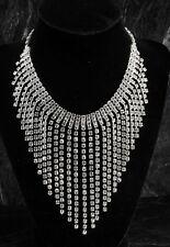 "Vintage Rhinestone Bib Necklace Rhodium Plated Made with Swarovski 18"" Jewelry"