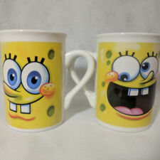 SPONGEBOB Face Coffee Cups Mugs 8 oz each Set of 2 Double Sided