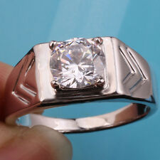 .925 Sterling Silver Ring for Men Size 12 Clear CZ Dad's Gift