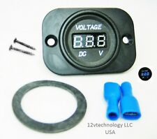 12V 24V DC Blue Voltmeter Digital Battery Monitor Tester Minder Panel Mount