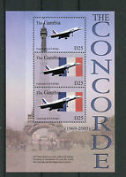 Gambia 2003 MNH Concorde Over Paris 3v M/S Eiffel Tower Planes Aviation Stamps