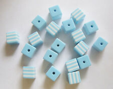 25 Plastic/Acrylic / Resin Candy Stripe Cube Beads - 8mm - Skyblue/White