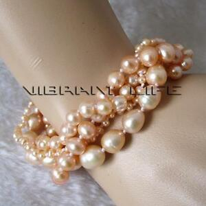 """8"""" 4-8mm Peach Pink Off Round Rice 4 Row Freshwater Pearl Bracelet"""
