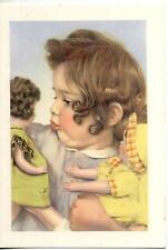 Bambina con Bambole Girl with Doll PC Circa 1950 Real Photo