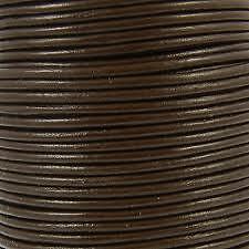 Lacet de cuir rond au mètre, diam 4 mm Brun Foncé