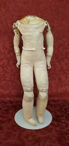 Antique German Leather Doll Body for Shoulder Head Dolls 15 inches