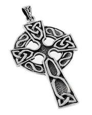 "Large 2"" Sterling Silver Celtic Knot Cross Pendant"