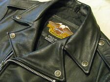 Harley Davidson Leather Motorcycle Jacket Black H-D Basic Skins USA Made Mens S