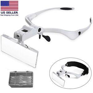 LED Jewelers Head Headband Magnifier Illuminated Visor Magnifying Glasses Loupe