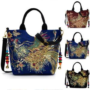 Women Handbag Embroidery Sequins Peacock Shoulder Bag Vintage Tote Shopping