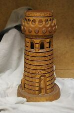 Vintage Collectible Russian Wooden Bottle Decor Castle Tower Soldiers from 1978