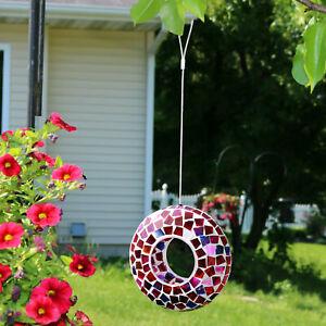 "Sunnydaze Outdoor Hanging Bird Feeder Crimson Glass Mosaic Fly-Through - 7"""