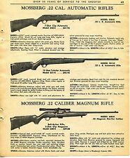 1965 Print Ad of Mossberg .22 Automatic Model 350-K & 351-K Magnum 640-K Rifle