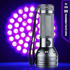 51 LED UV Ultra Violet Flashlight Blacklight Light 395 nM Inspection Lamp Torch