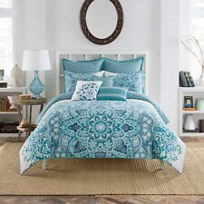 Anthology Kaya 1 Euro European Pillow Sham Medallion Print Aqua Blue