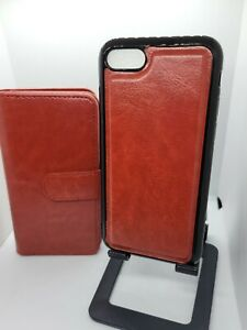 iPhone SE 2020/7/8 Red PU Leather Wallet Folio Detachable Shockproof Case