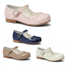 Zapatos de chicas Mary Jane Estilo Español plana patente ocasión Blanca Rosa Azul Marino Uk 6-12