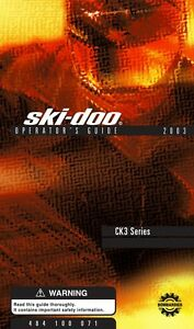 New Ski-Doo 2003 Mach Z Tech Plus Techplus CK3 Series Printed Owners Manual