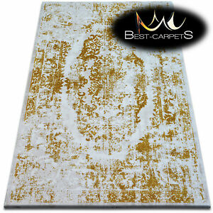 """SOFT ACRYLIC RUGS """"BEYAZIT"""" Very Thick And Densely Woven HIGH QUALITY white gold"""