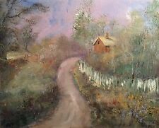 "NUOVO Originale LEON Goodman Olio ""ROMANTICA Cottage Dorset"" COUNTRY LIFE PITTURA"
